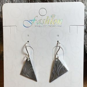 Silver Aluminum Triangle Earrings, New, 1.5""